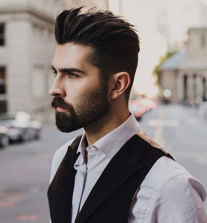 hairstyles for men, black hair, white shirt, black beard, black jacket