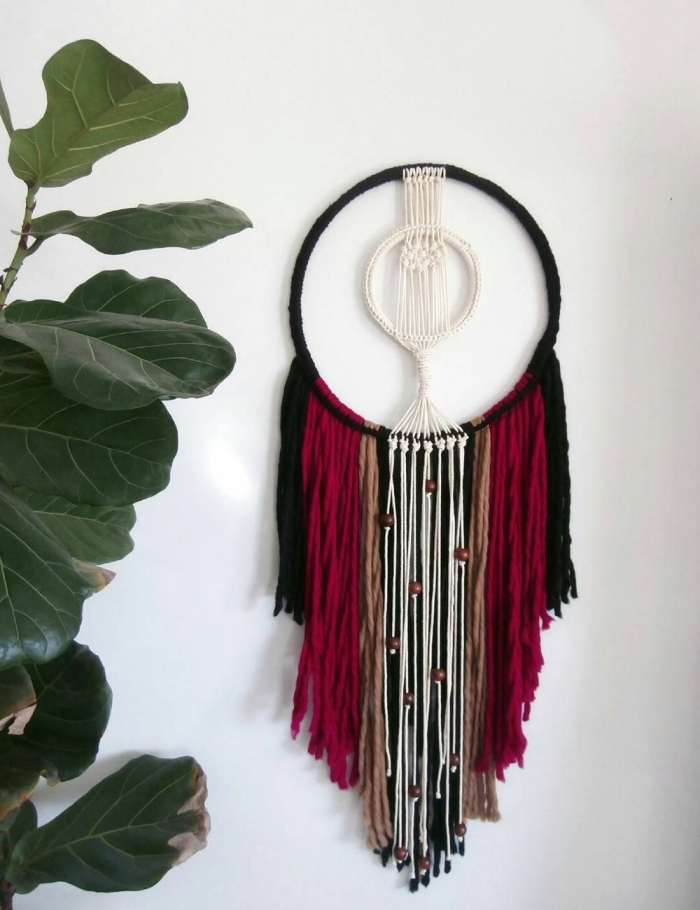 black and red, brown and white macrame, white wall, free macrame patterns