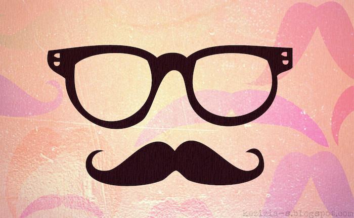 black sunglasses, black moustache, love quotes tumblr, orange background