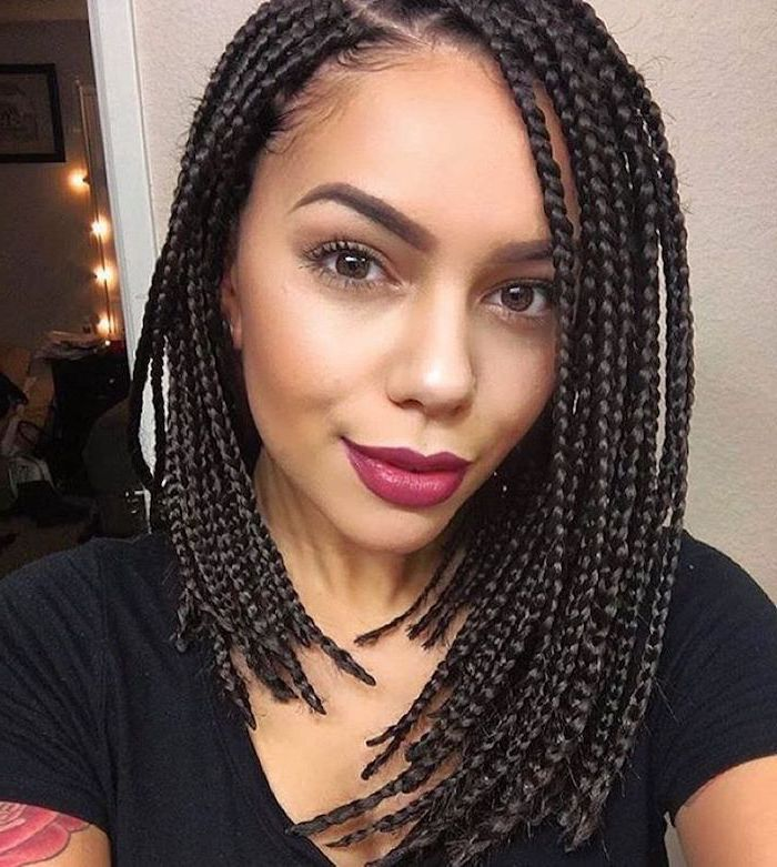girl with short black hair, wearing a black top, nigerian braids hairstyles, red lipstick