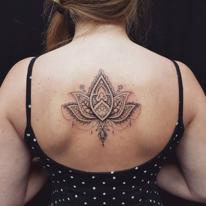 black top, with white stars, shoulder tattoos for girls, lotus flower, mandala back tattoo