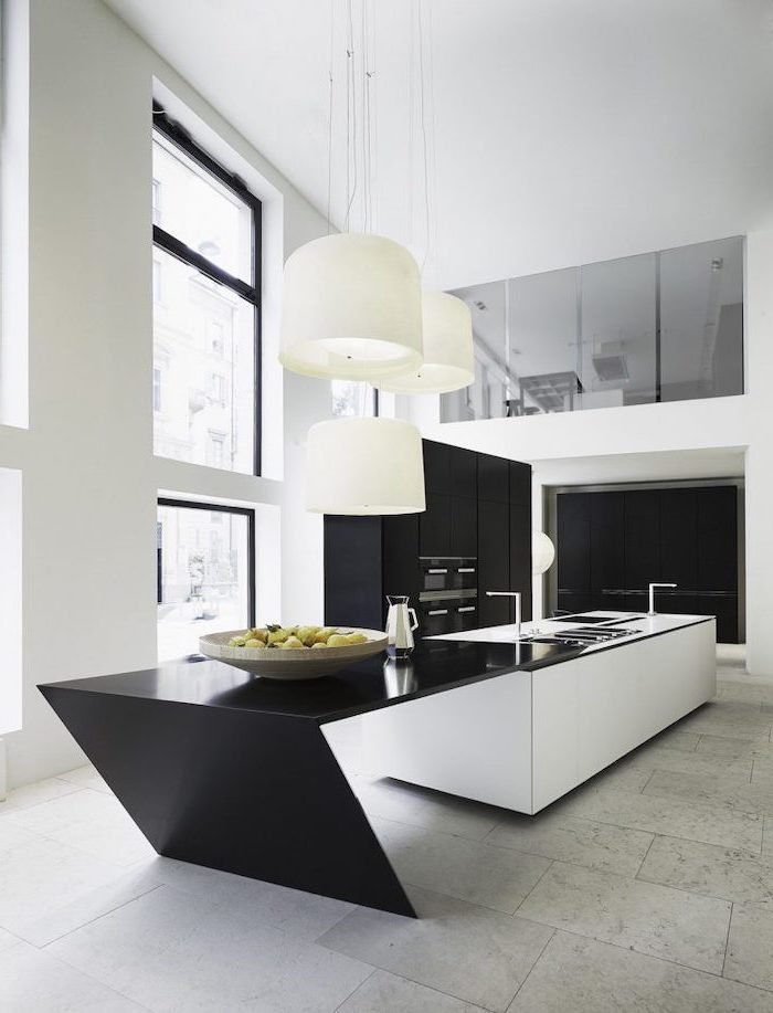 black and white kitchen island, tiled wall, black cabinets, kitchen island ideas, tall windows and ceiling