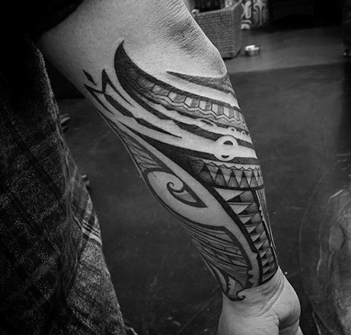 tribal tattoo, black and white photo, forearm tattoos for men