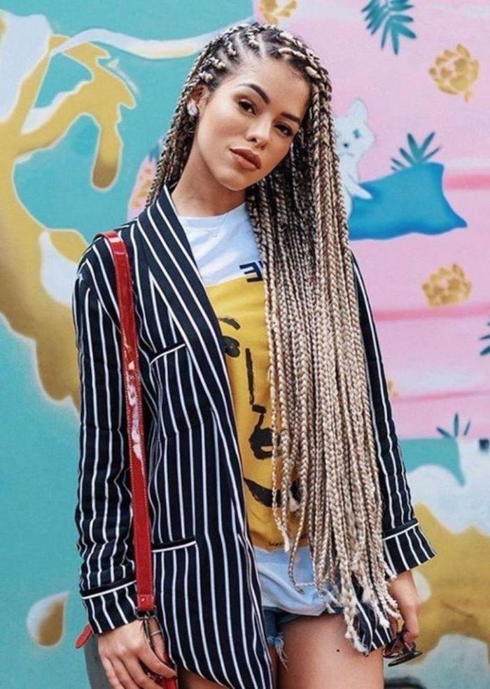 nigerian braids hairstyles, black and white striped blazer, long blonde hair, colourful background
