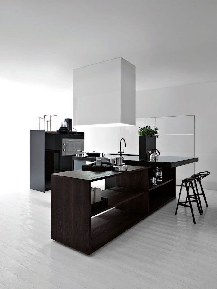 white wooden floor, wooden kitchen island, small kitchen island with seating, black metal bar stools