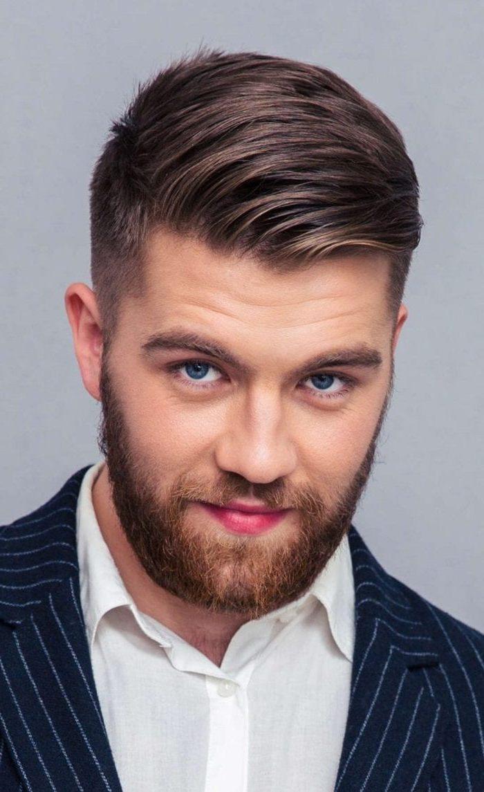 blue eyes, medium length hairstyles for men, brown hair, navy jacket, white shirt