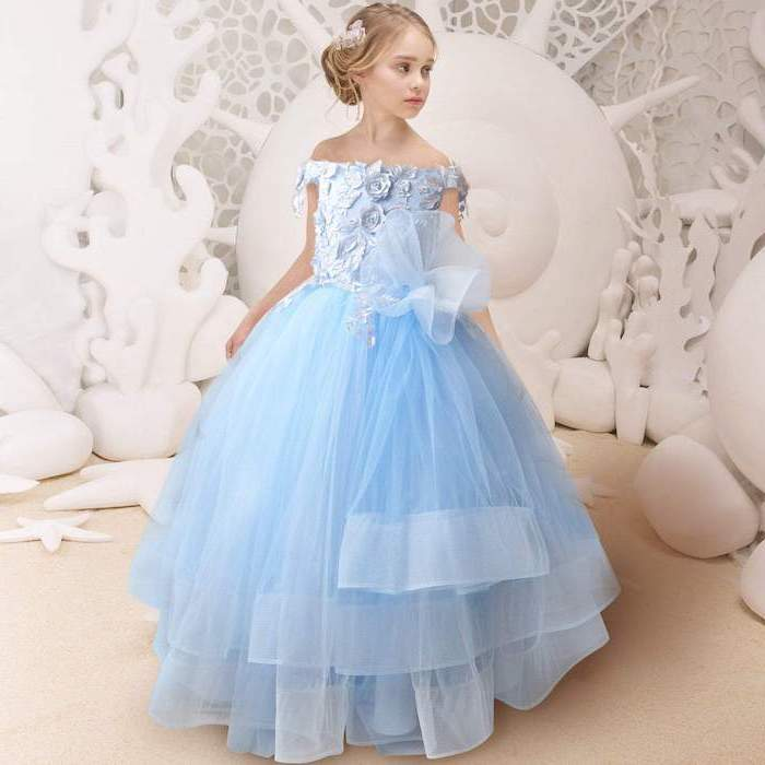 blue tulle dress, cute girls outfits, blonde hair, in a low updo, white background