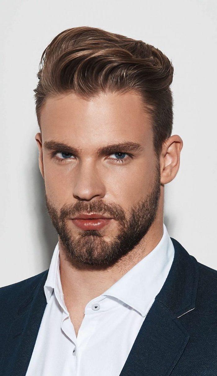 brown hair, blue eyes, guy hairstyles, white shirt, black jacket, white background
