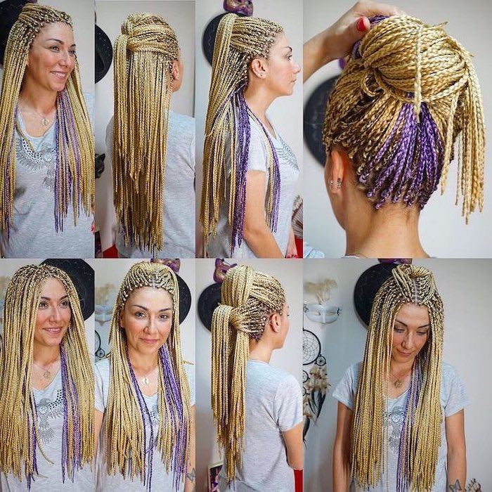 side by side photos, of different hairstyles, with blonde and purple hair, pictures of braids