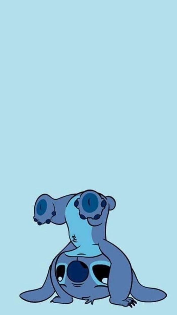blue background, cute iphone wallpapers, stitch standing upside down
