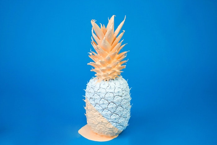 blue background, beach tumblr, orange and blue, painted pineapple