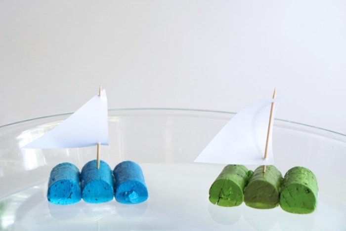 cork screws taped together, painted in blue and green, preschool learning, diy small boats