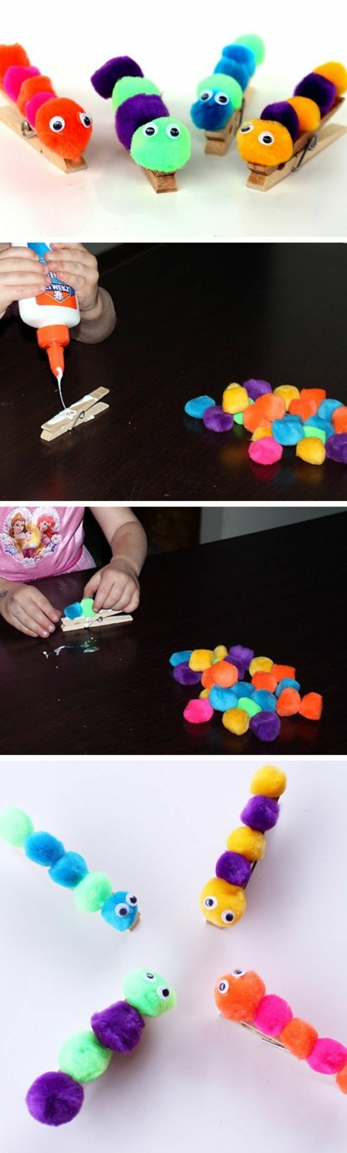step by step, diy tutorial, school themes, clothespins with pom poms on top, blue and green, purple and pink