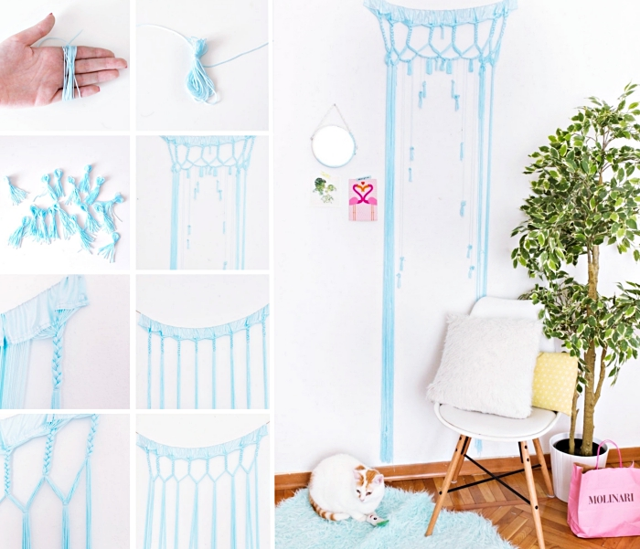 blue macrame, white wall, macrame wall hanging diy, white chair, potted plant, wooden floor