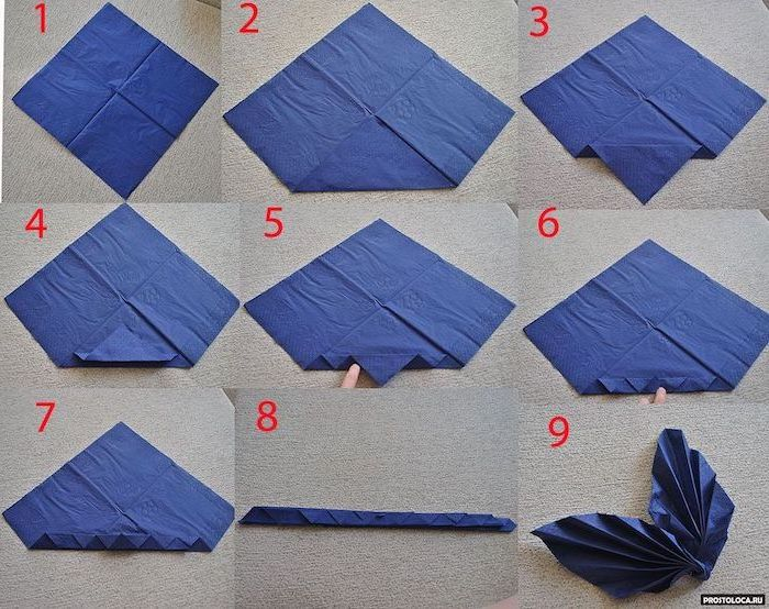 blue napkin, fan shaped, thanksgiving napkin folding, step by step, diy tutorial