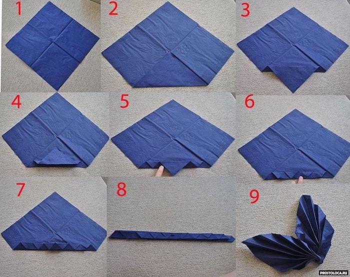 blue napkin, fan shaped, thanksgiving napkin folding, step by step, diy tutorial