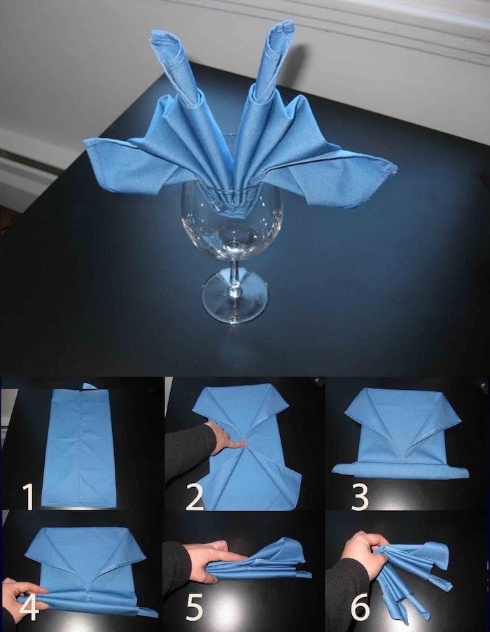blue napkin, inside a wine glass, step by step, diy tutorial, thanksgiving napkin folding