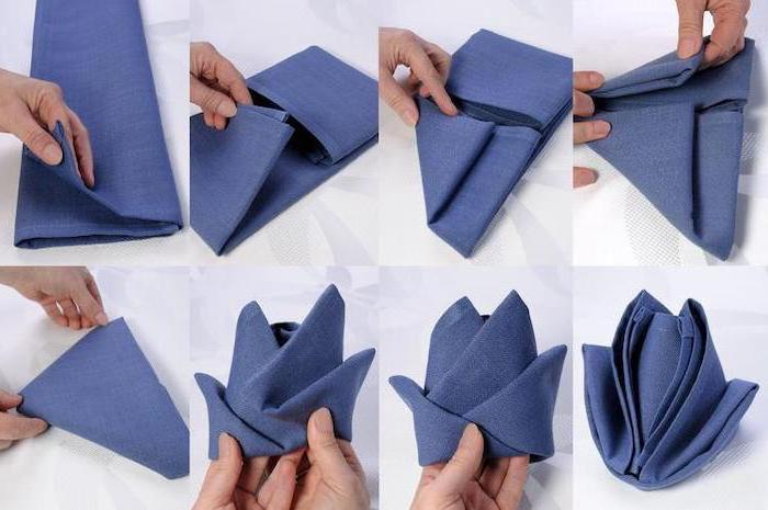 flower shaped, blue napkin, thanksgiving napkin folding, diy tutorial, step by step