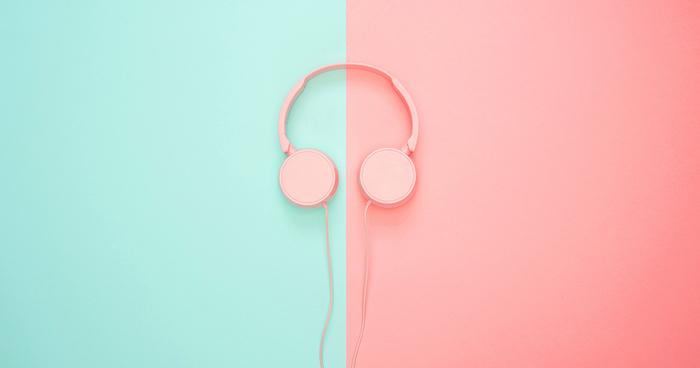 blue and orange background, orange headphones, pink background tumblr