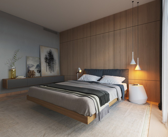 wooden accent wall, bedroom design ideas, wooden floating bed, blue wall, white carpet