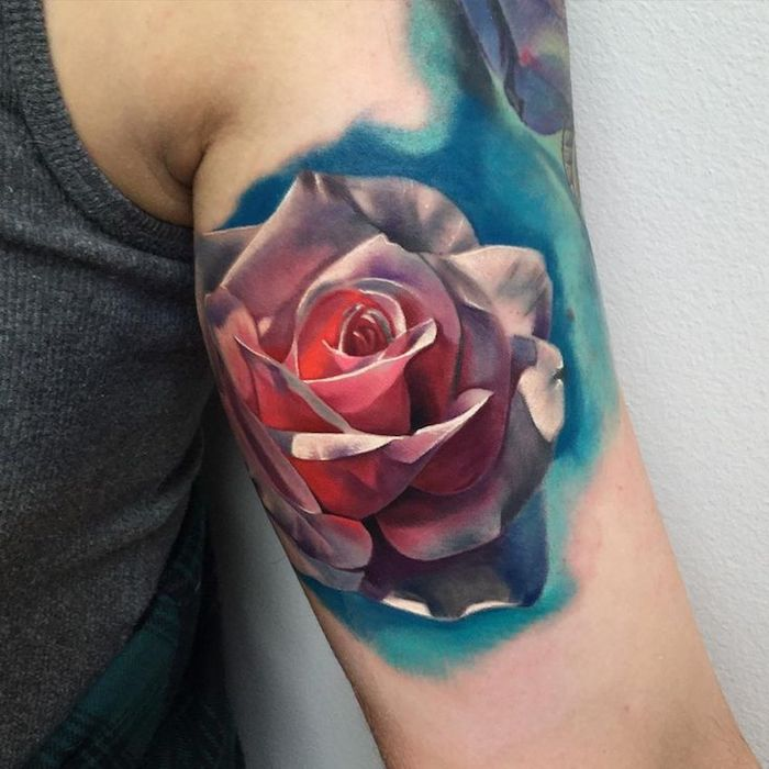 arm tattoos for girls, watercolour rose, inside arm tattoo, grey top
