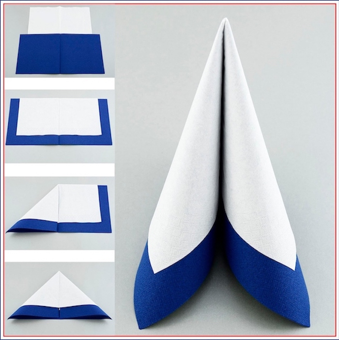 easy napkin folding, diy tutorial, step by step, white and blue napkin