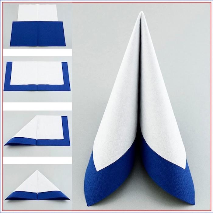 easy napkin folding, diy tutorial, step by step, white and blue napkin