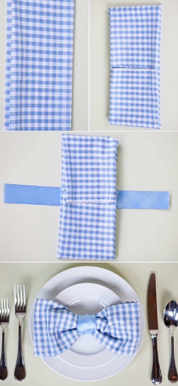 blue an white plaid napkin, bow shaped, blue ribbon, on a white plate, napkin folding, step by step, diy tutorial