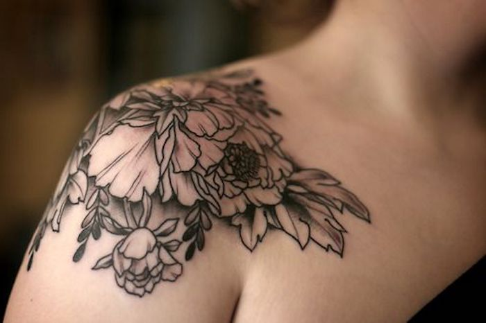 flowers shoulder tattoo, arm tattoos for girls, black top
