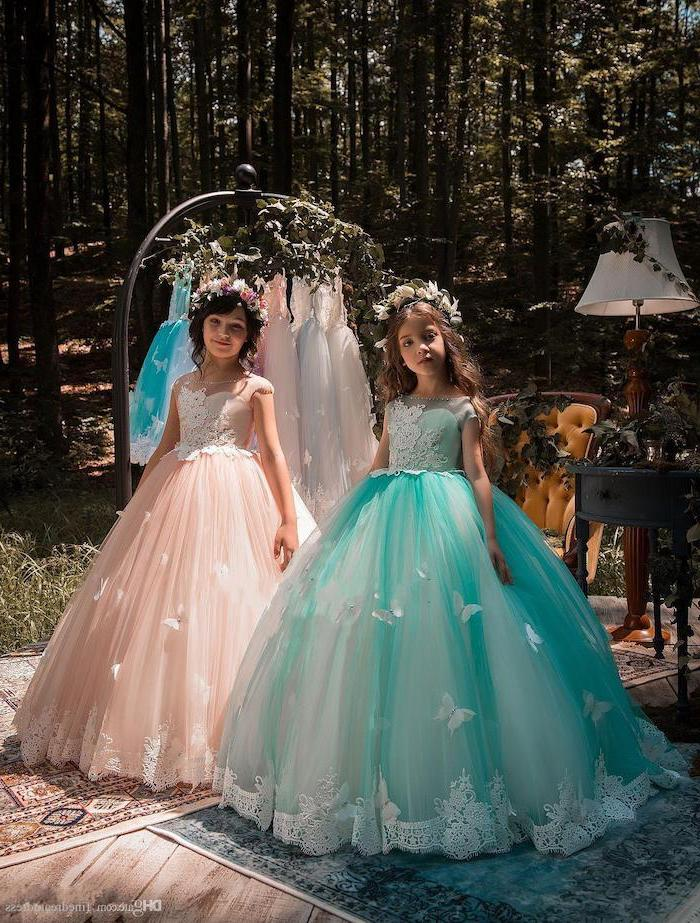 dresses for girls, two girls, turquoise and pink tulle dress, with white lace, flower crowns, in the middle of a forest