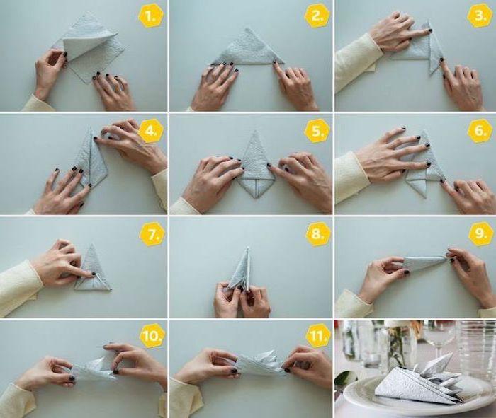 boat shaped napkin, easy napkin folding, step by step, diy tutorial