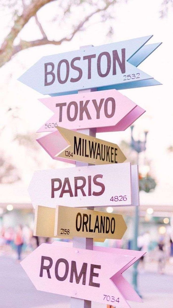 cute tumblr backgrounds, arrow signs, names of famous cities