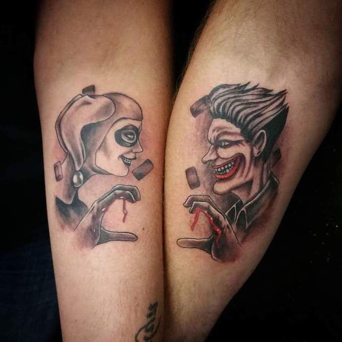 matching tattoos, harley quinn and the joker, forearm tattoos, dc inspired