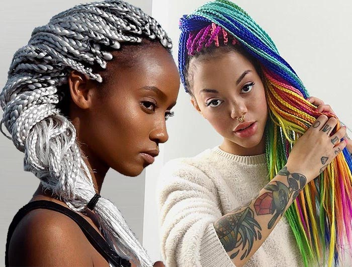 side by side photos, of two women, cornrow styles, ash grey hair, rainbow coloured hair