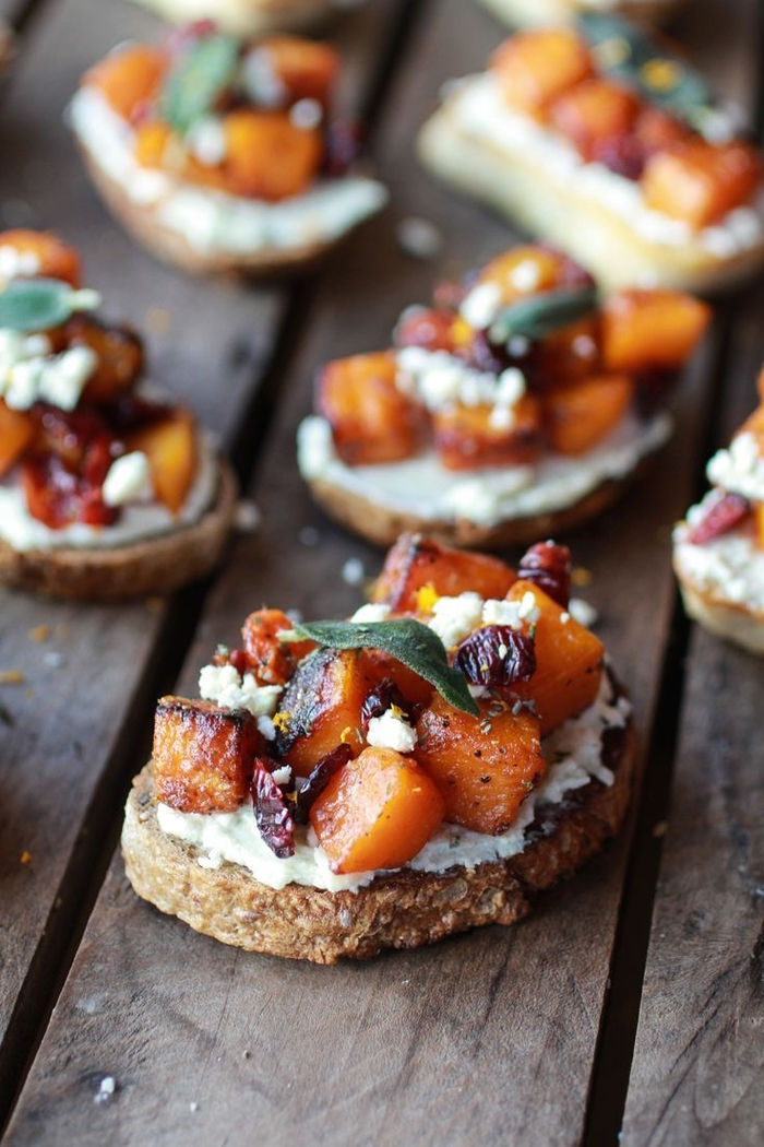 wholegrain bread slices, vegetarian appetizer recipes, chopped and baked, sweet potato on top