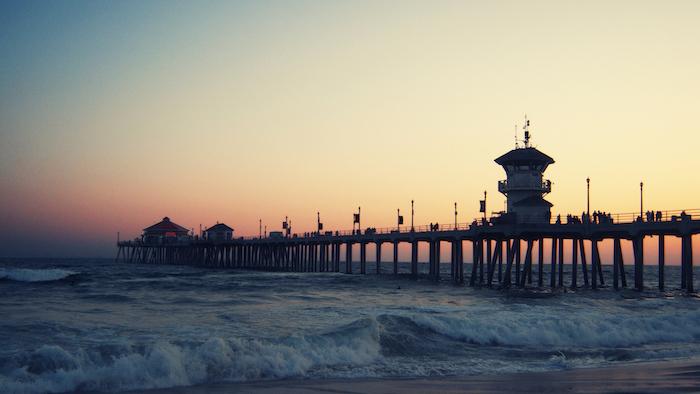 sunset sky, wooden pier, ocean waves, beach tumblr