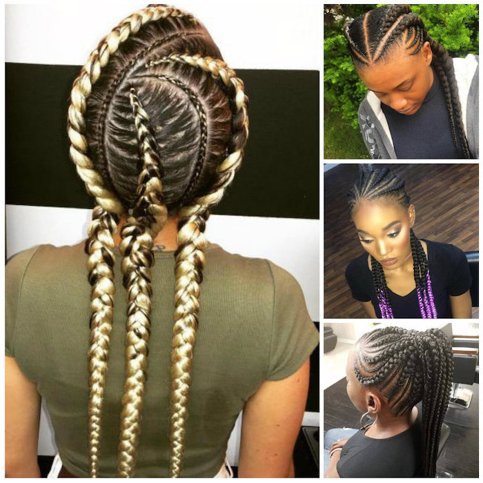 side by side photos, of different hairstyles, cornrow styles, on black and blonde hair