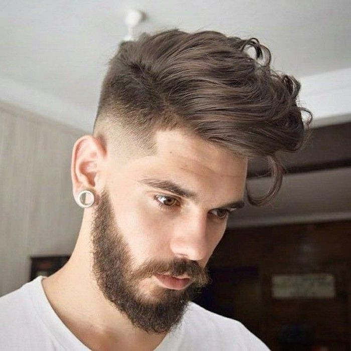 brown hair, white shirt, short guy haircuts, brown beard, white earring