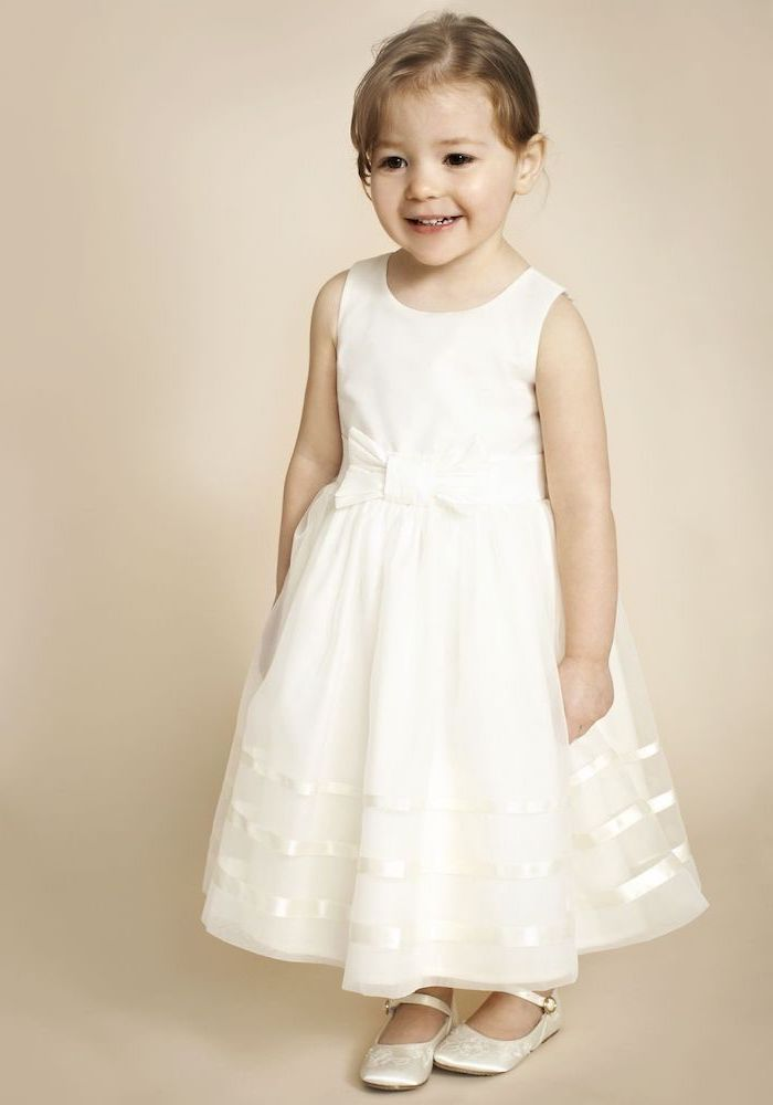 short brown hair, white tulle dress, white shoes, cute girl outfits, white background