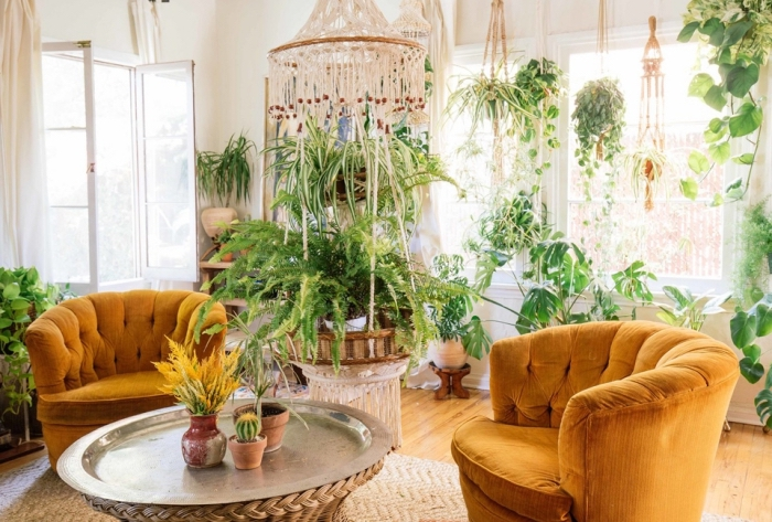 brown velvet armchairs, lots of potted plants, wooden floor, macrame diy, macrame chandelier