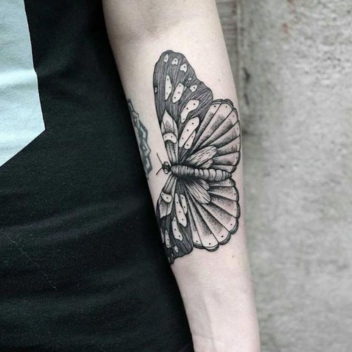 butterfly forearm tattoo, black top, tattoos for women