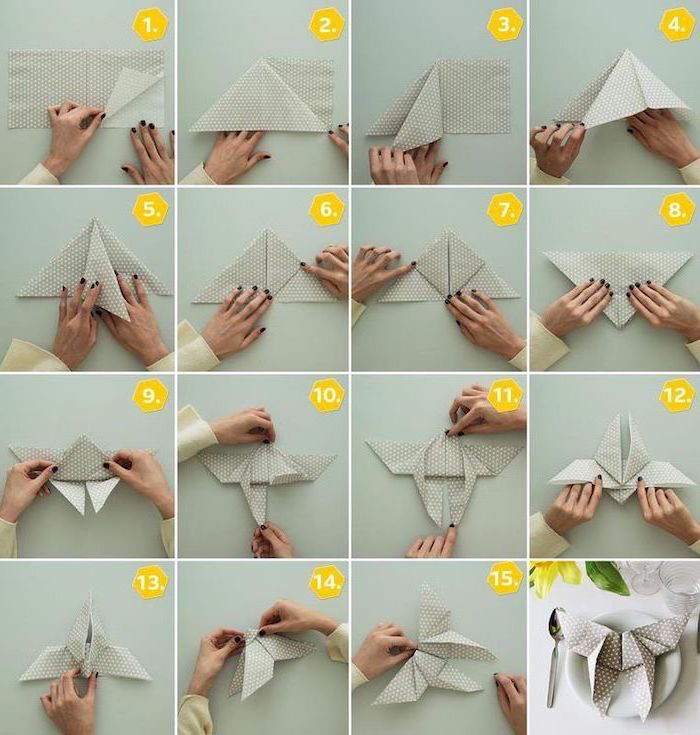 grey napkin, with white dots, butterfly shaped, diy tutorial, easy napkin folding, step by step