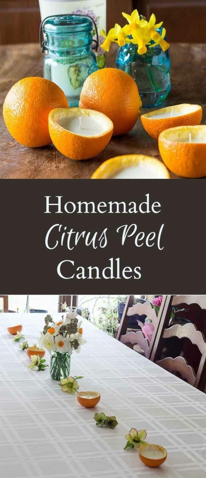 homemade citrus peel candles, sliced oranges in half, how to make scented candles, filled with candle waax