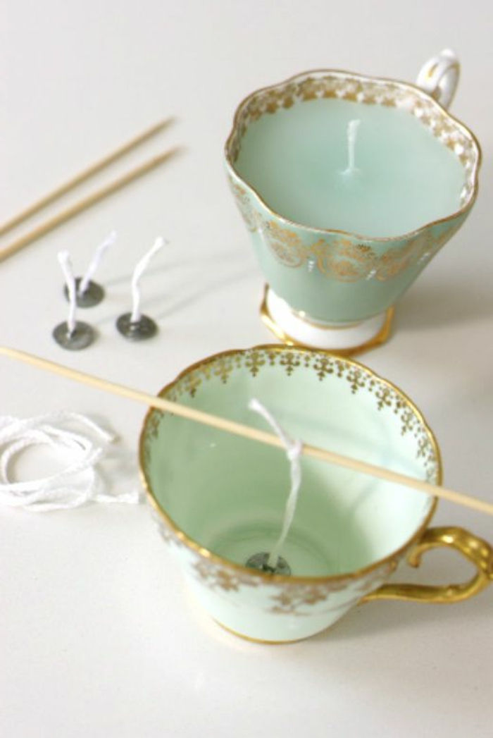 candle wicks, how to make scented candles, vintage teacups, filled with candle wax