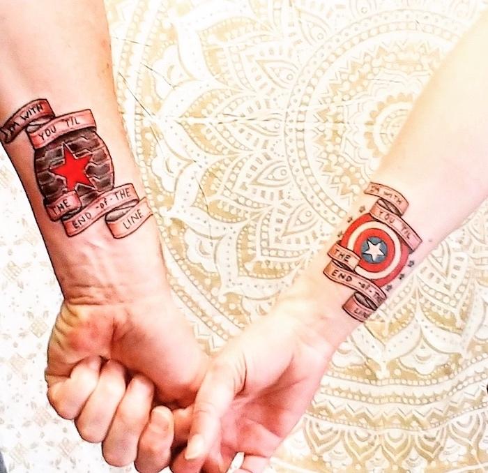 captain america, winter soldier, marvel inspired, wrist tattoos, relationship tattoos