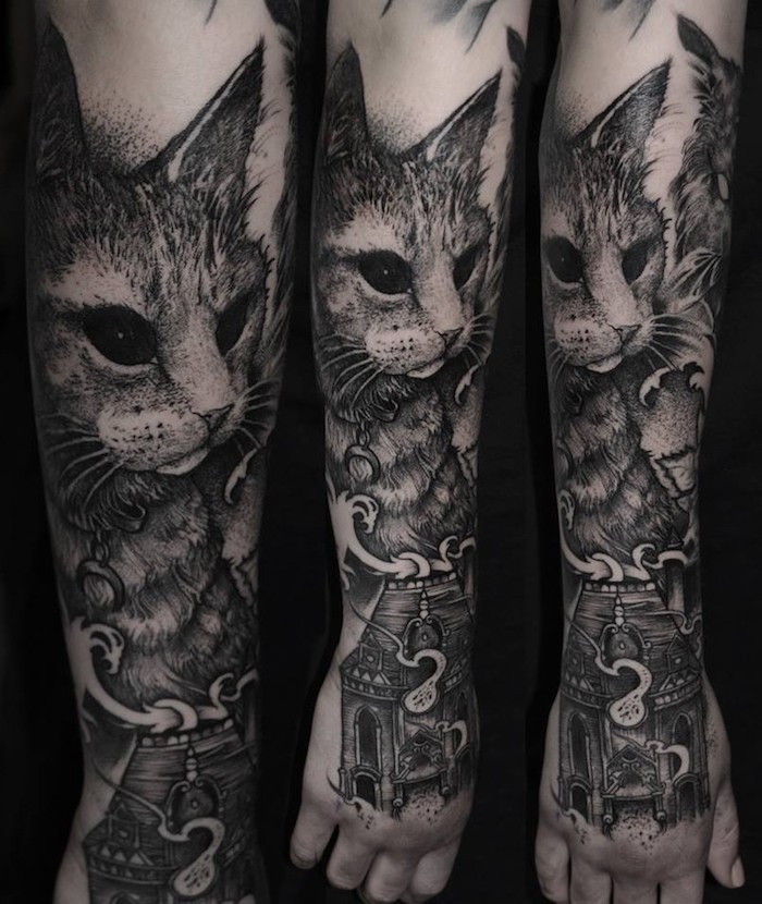 large cat head, old house, arm tattoos for women, black background, side by side photos
