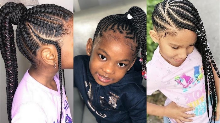 hairstyles for kids, side by side photos, braid hairstyles with weave, on black hair