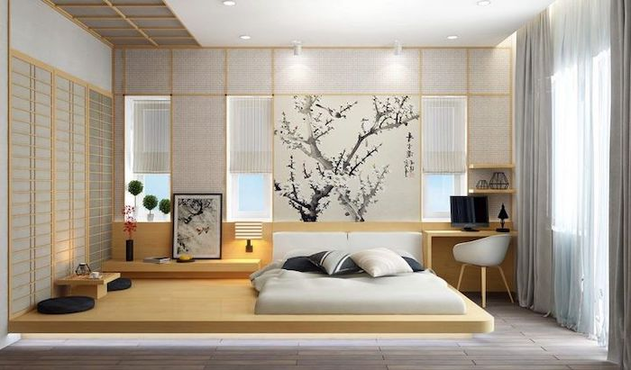 master bedroom decorating ideas, chinese style, wooden floating bed, white blinds on the walls