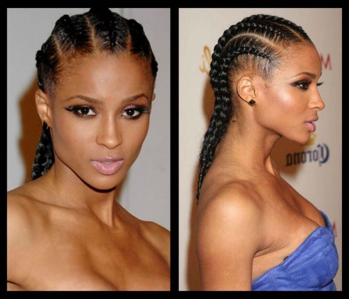 ciara with black hair, side by side photos, big cornrows hairstyles, wearing a blue velvet top