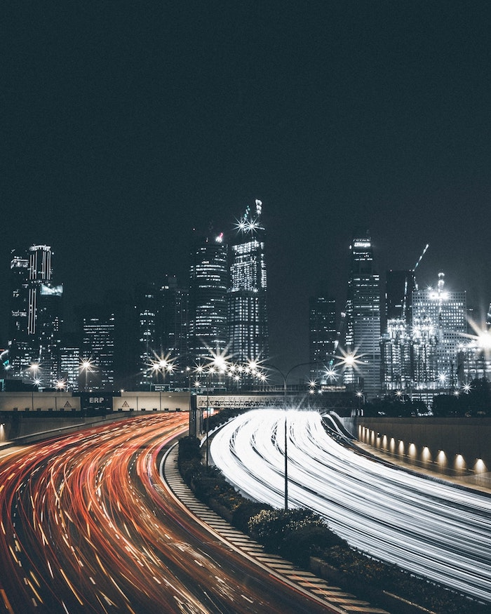 large highway, speeding cars, cute tumblr wallpapers, city landscape, in the night